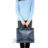 Женская кожаная сумка - портфель 2528 темно-синяя 6