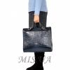 Женская кожаная сумка - портфель 2528 темно-синяя 8