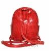 Шкіряний рюкзак 2517 червоний з принтом - хвиля 3