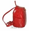 Шкіряний рюкзак 2517 червоний з принтом - хвиля 2