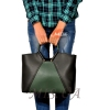 Women's bag 35601 black with green 5
