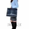 Женская кожаная сумка - портфель 2528 темно-синяя 7