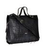 Женская кожаная сумка - портфель 2528 темно-синяя 2