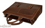 Мужской кожаный портфель 4252 коричневый однотонный 4