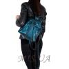 Кожаный городской рюкзак МІС 2533 синий металик 5