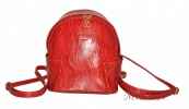 Шкіряний рюкзак 2517 червоний з принтом - хвиля 0