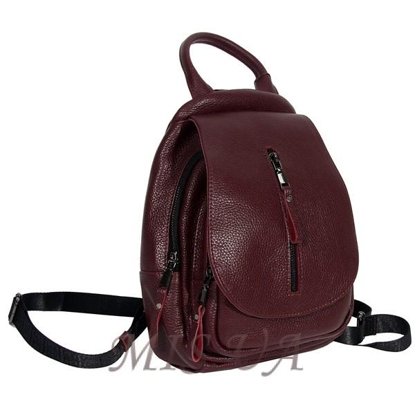 Женский кожаный сумка-рюкзак 2596 бордовый