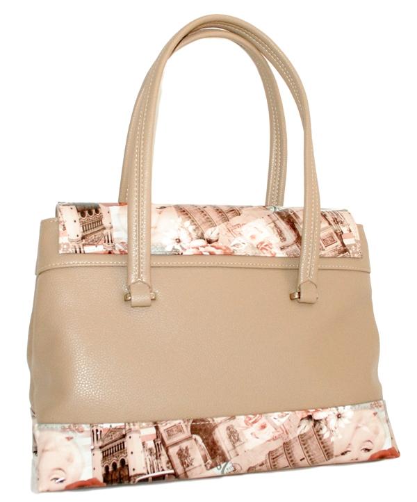 Жіноча сумка 35454 бежева з кольоровим принтом