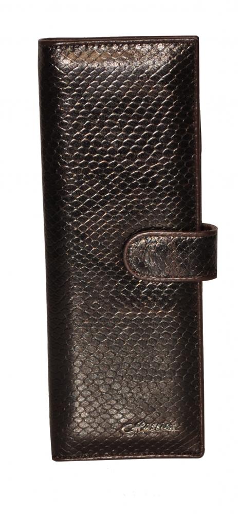 Визитница 17631 коричневая рептилия лак