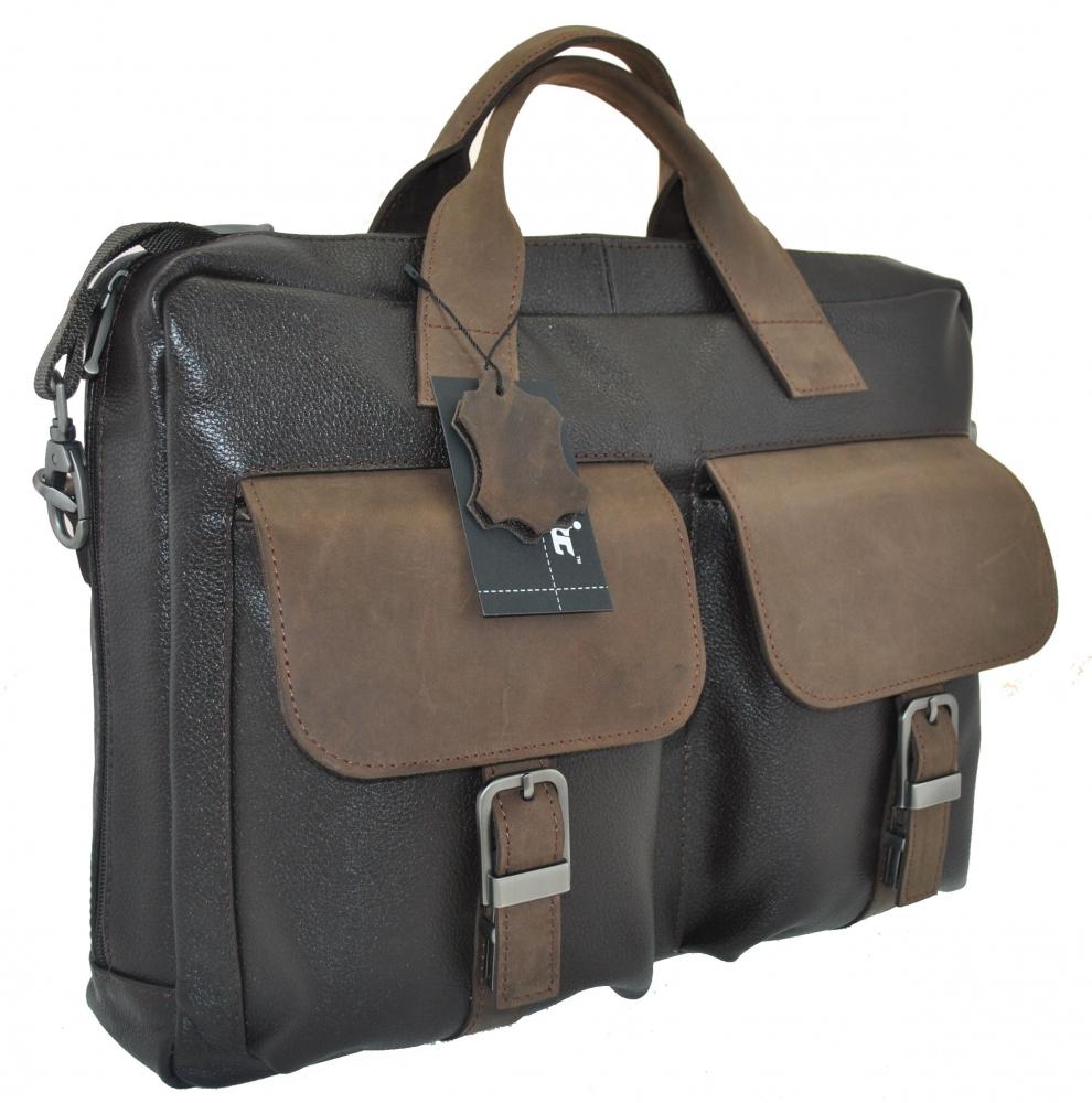 Мужской кожаный портфель 4293 коричневый