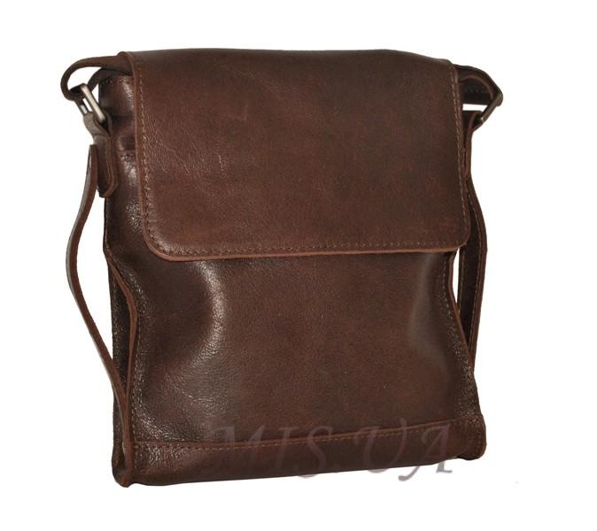 Мужская кожаная сумка 4259 коричневая малага