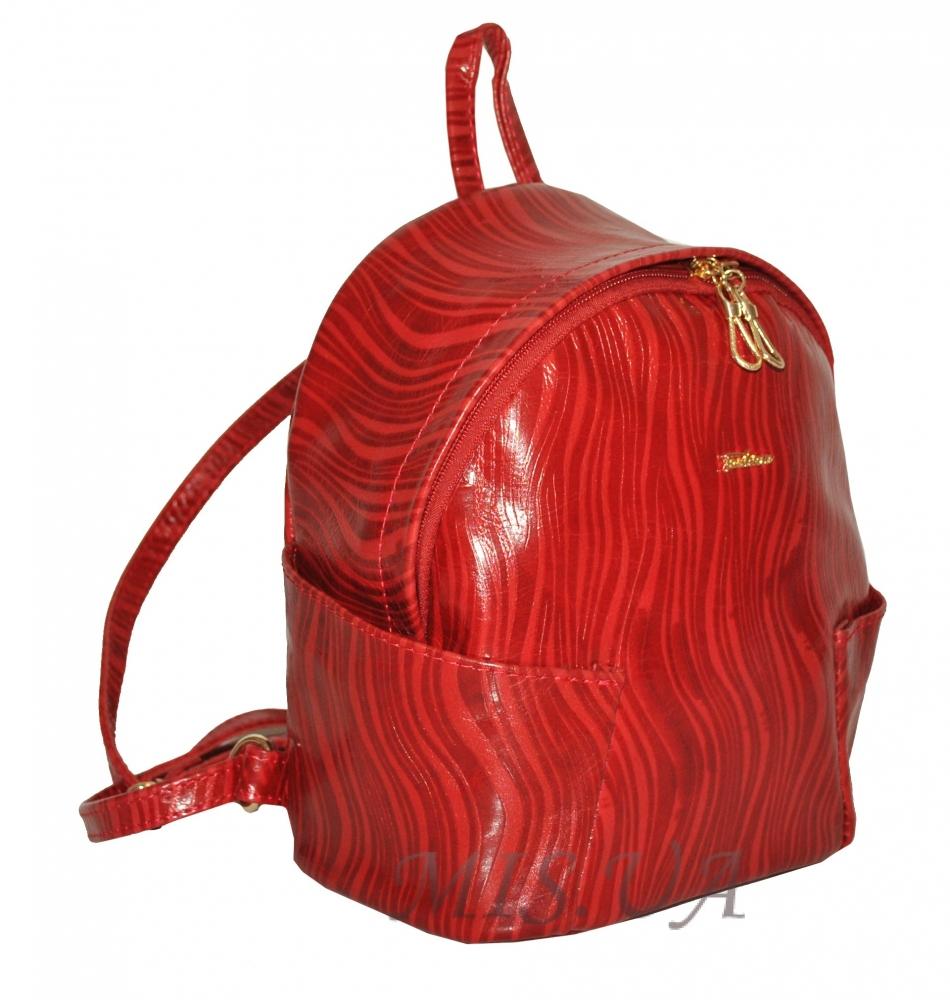 Шкіряний рюкзак 2517 червоний з принтом - хвиля