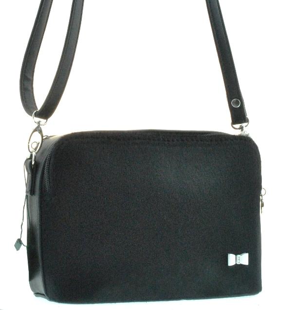 Женская сумка 35329 черная с мехом