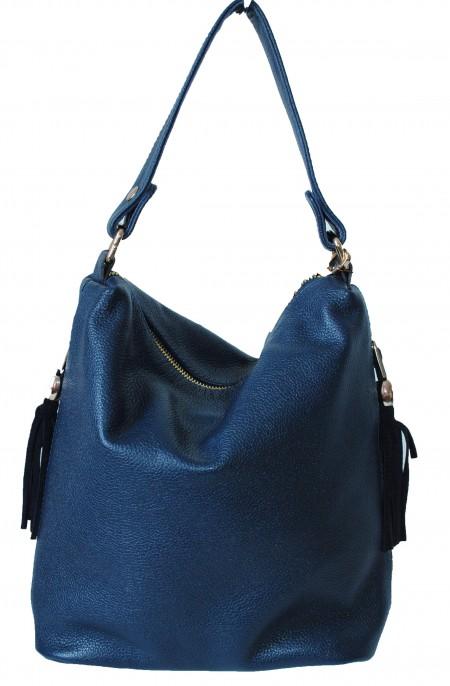 Женская кожаная сумка 2447 синяя