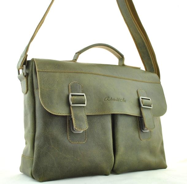 Мужской кожаный портфель 4227 хаки