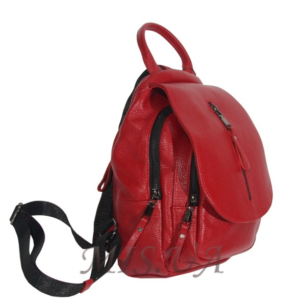 Женский кожаный сумка-рюкзак 2596 красный