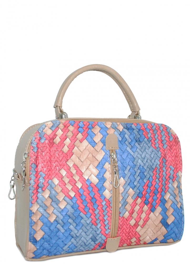 Женская сумка 35457 капучино с цветным принтом