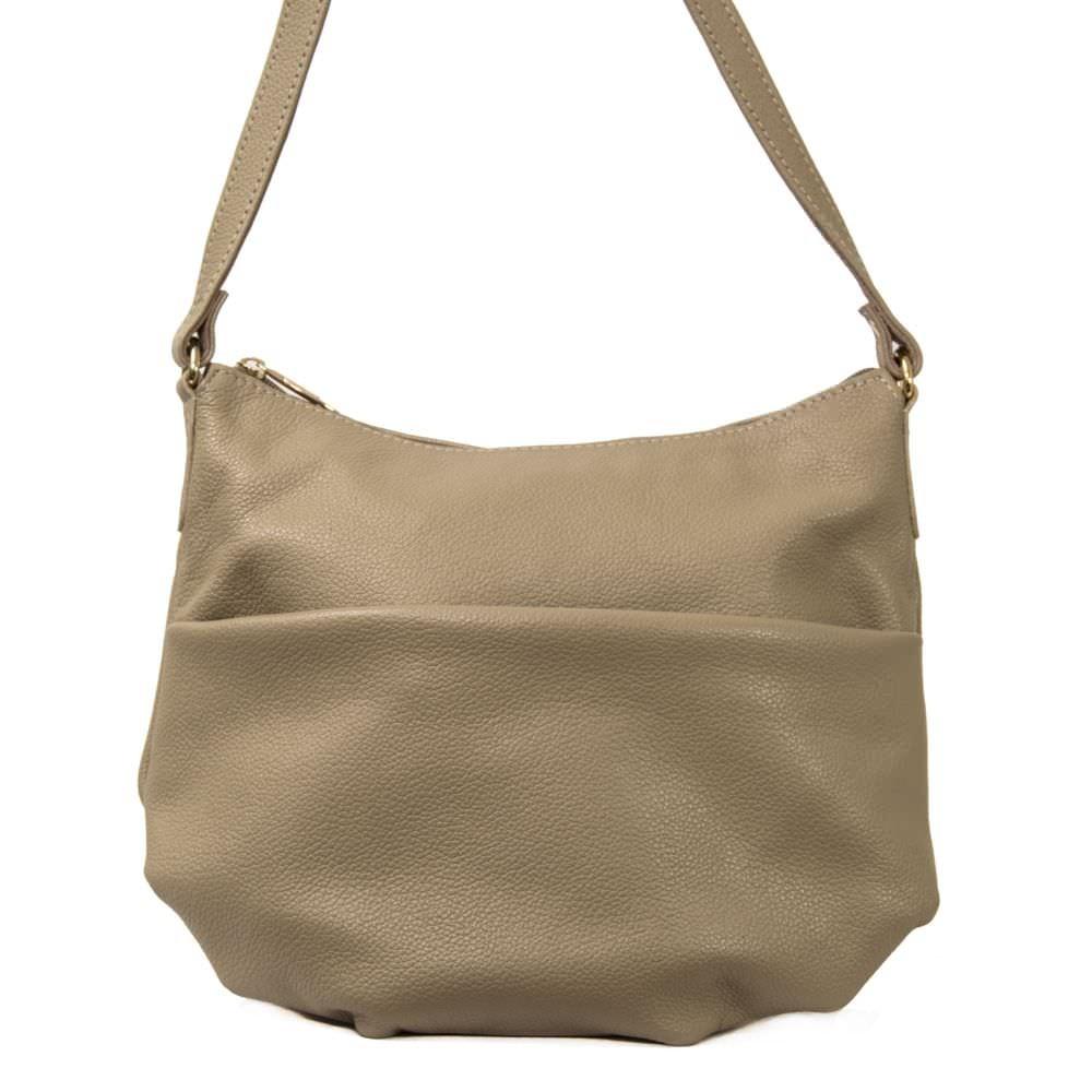 Женская кожаная сумка 2459 светло-бежевая