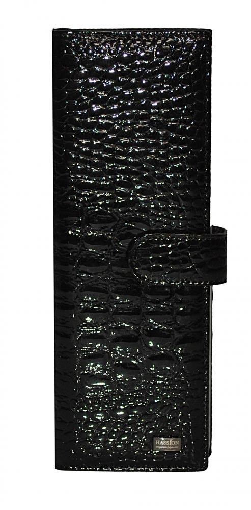 Визитница 17631 черная крокодил лак