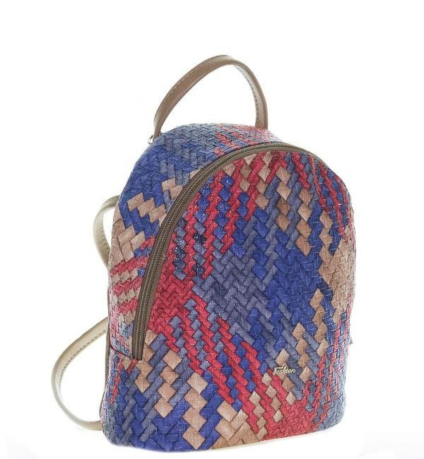 Женский рюкзак 35411 капучино с цветным принтом