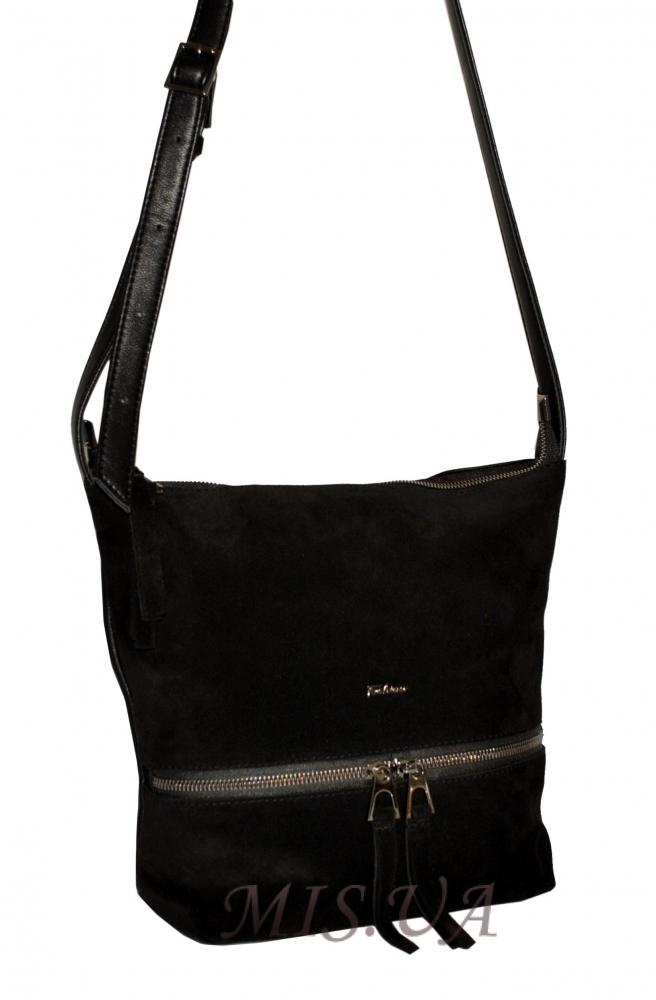 Жіноча  замшева сумка 0673 чорна