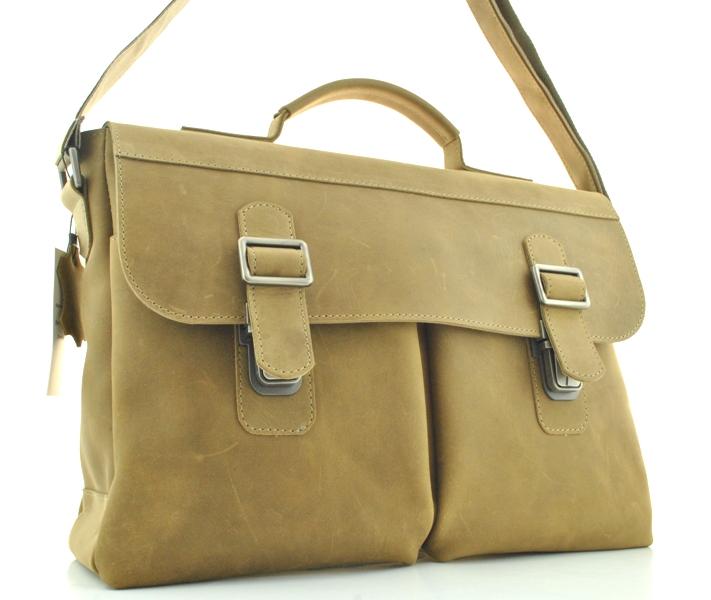 Мужской кожаный портфель 4227 песочный