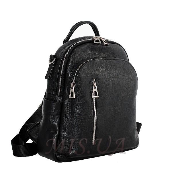 Женский кожаный сумка-рюкзак 2583 черный