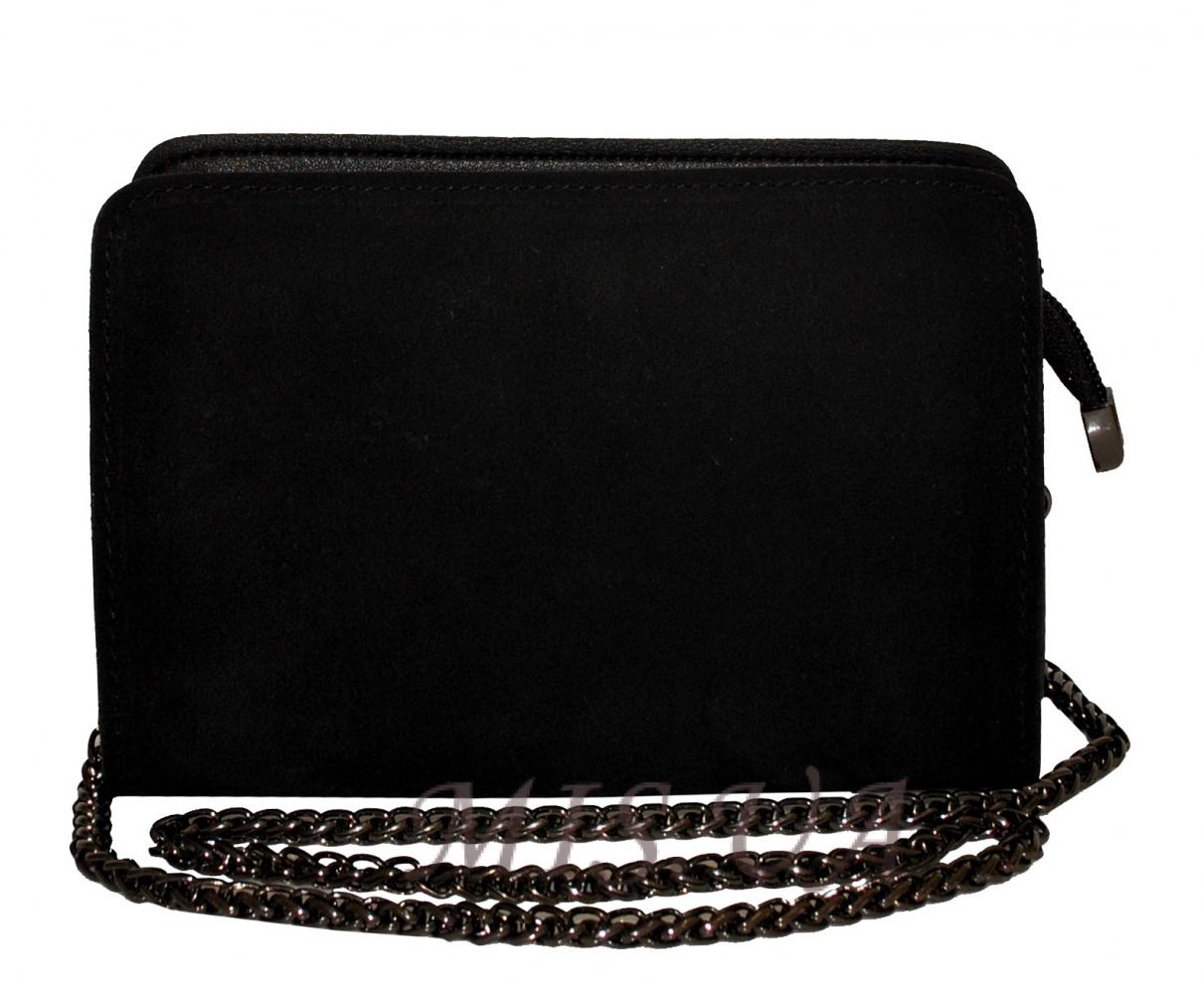 Жіноча сумка замшева 0663 чорна