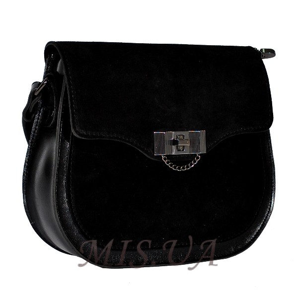 Женская замшевая сумка МІС 0711 черная