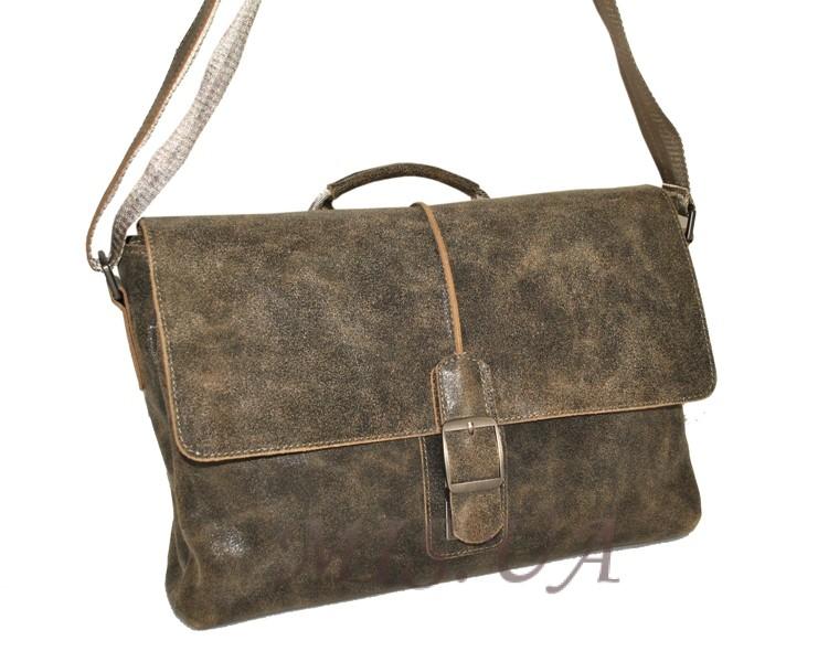 Мужской кожаный портфель 4381 хаки