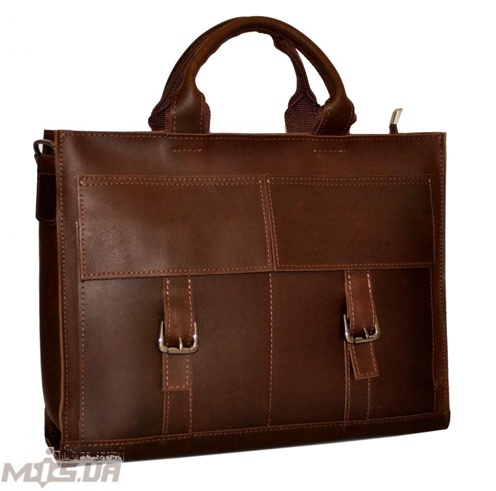 Мужской кожаный портфель 4252 коричневый однотонный