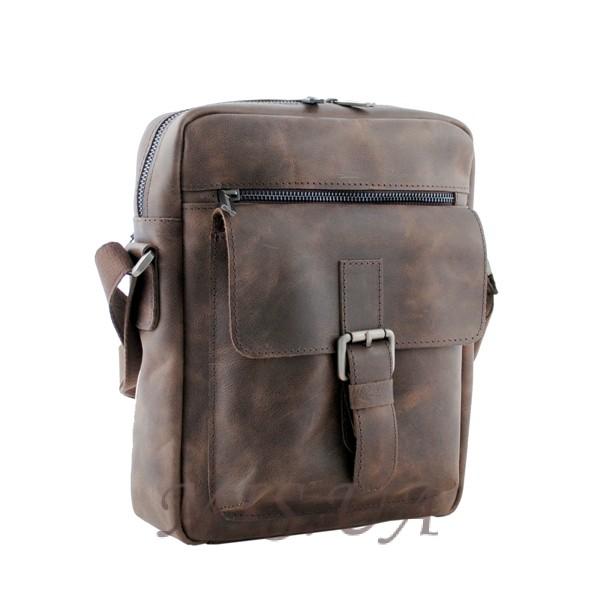 Мужская кожаная сумка Vesson  4568 коричневая - гранж