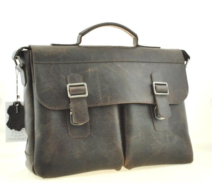 Мужской кожаный портфель 4227 темно-коричневый