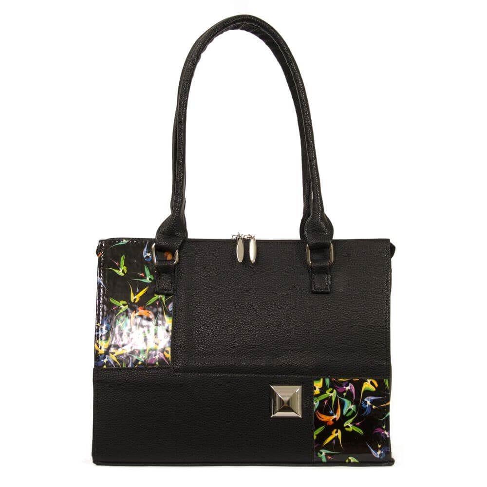 1328205e6a6f Купить черную женскую сумку с цветным принтом 35357 c доставкой по ...