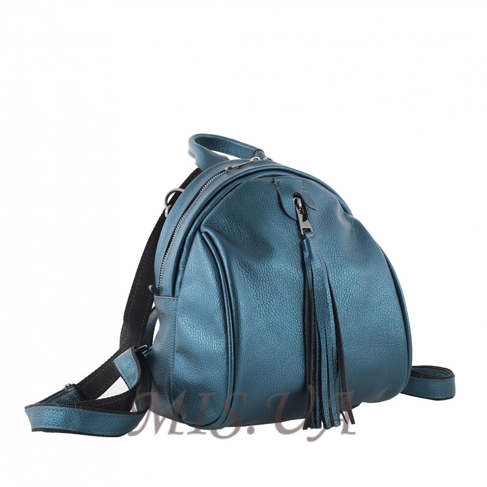 Кожаный городской рюкзак МІС 2533 синий металик