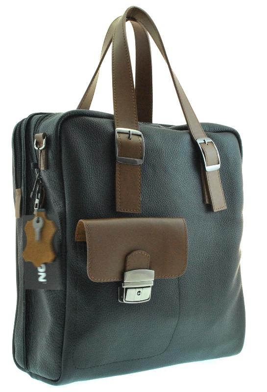 Мужской мягкий портфель 4326 черный с коричневым