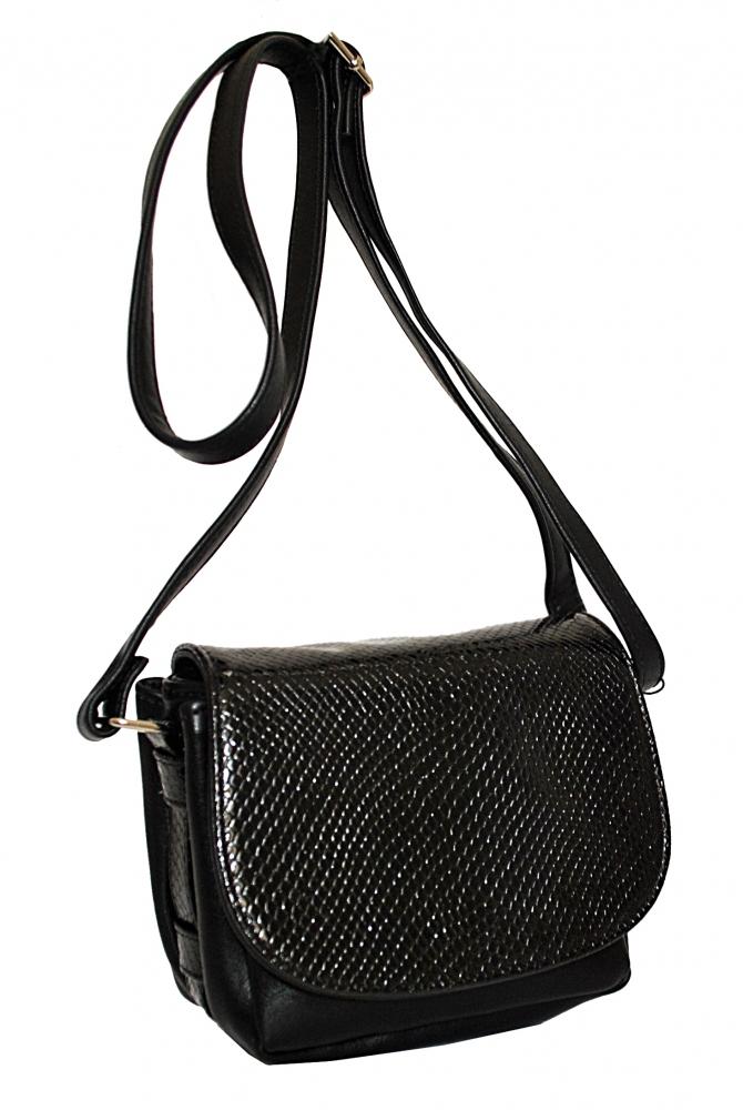 Женская сумка 35441 черная с тиснением