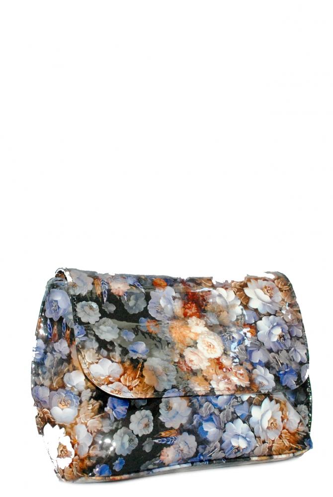 Женская сумка 35301 синяя с цветным принтом