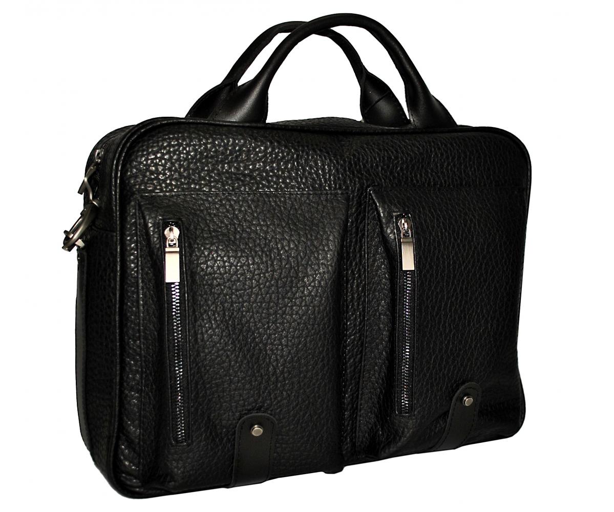 Мужской кожаный портфель-сумка 4368 черный