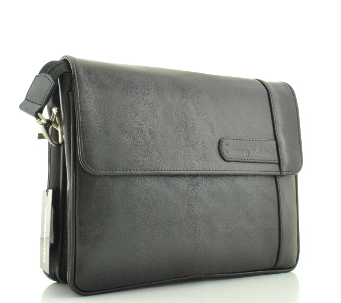 Men's leather handbag 4143 black