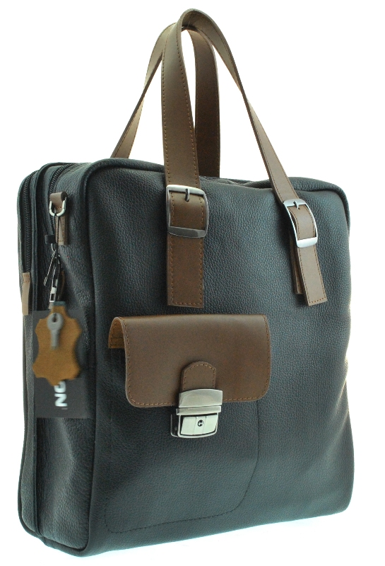 Male soft briefcase 4326 black with brown