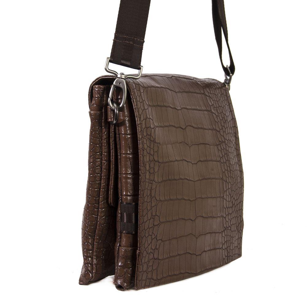 Мужская сумка 34105 коричневая с тиснением