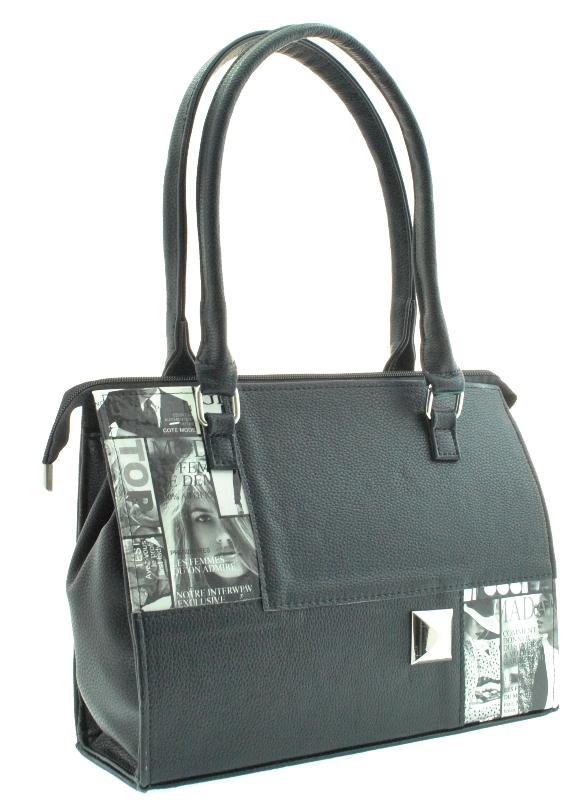 Женская сумка 35357 черная с принтом