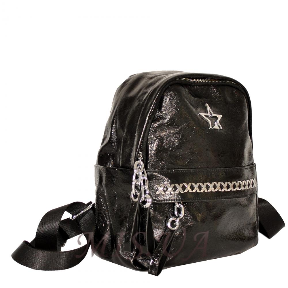 Женский кожаный рюкзак 381951 черный