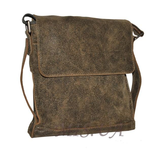 Чоловіча шкіряна сумка 4259 сіра хакі