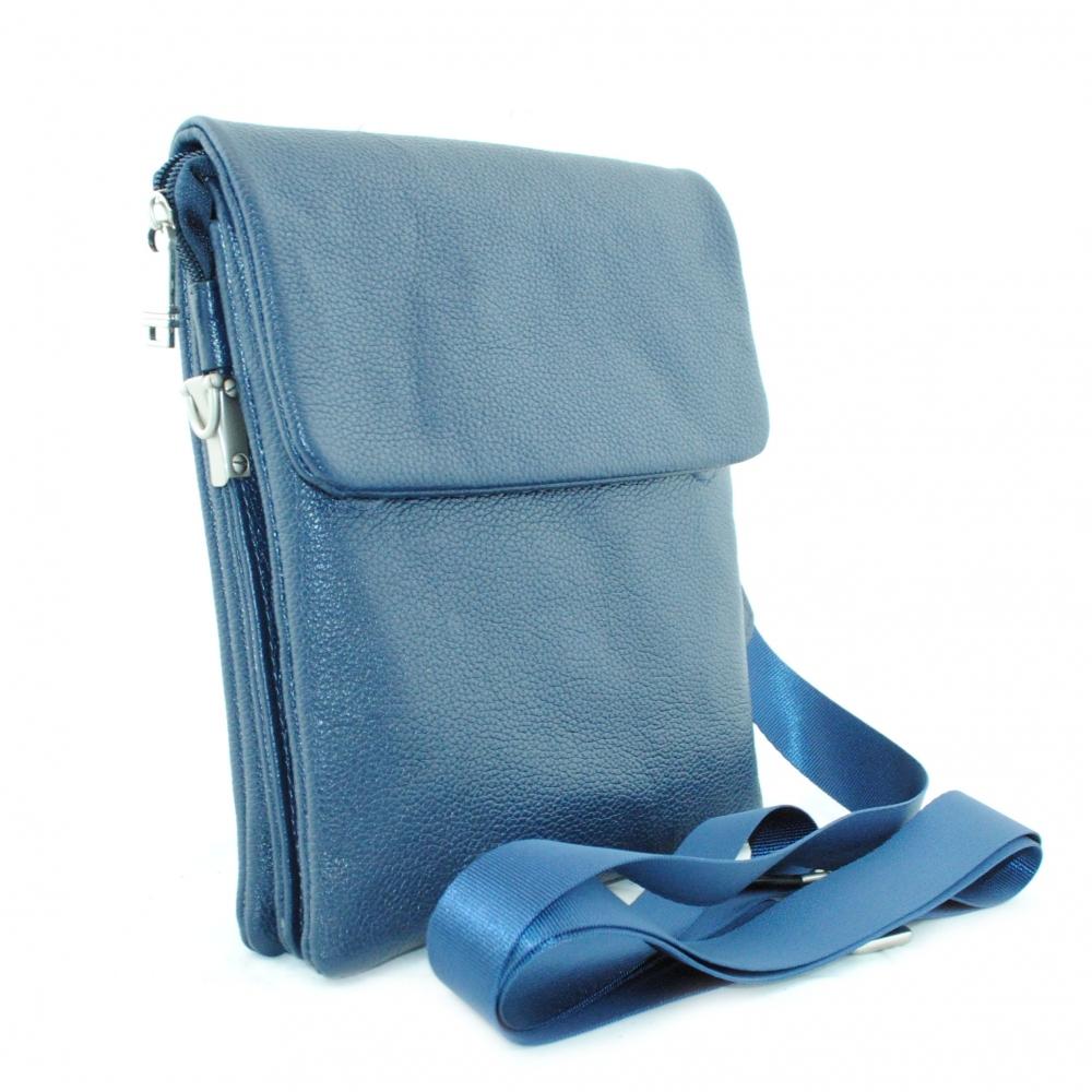 Мужская кожаная сумка 4117 синяя