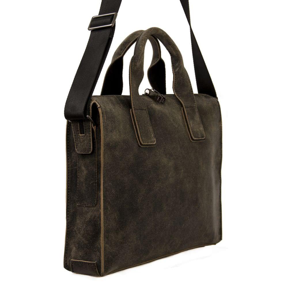 Мужской кожаный портфель 4241 хаки