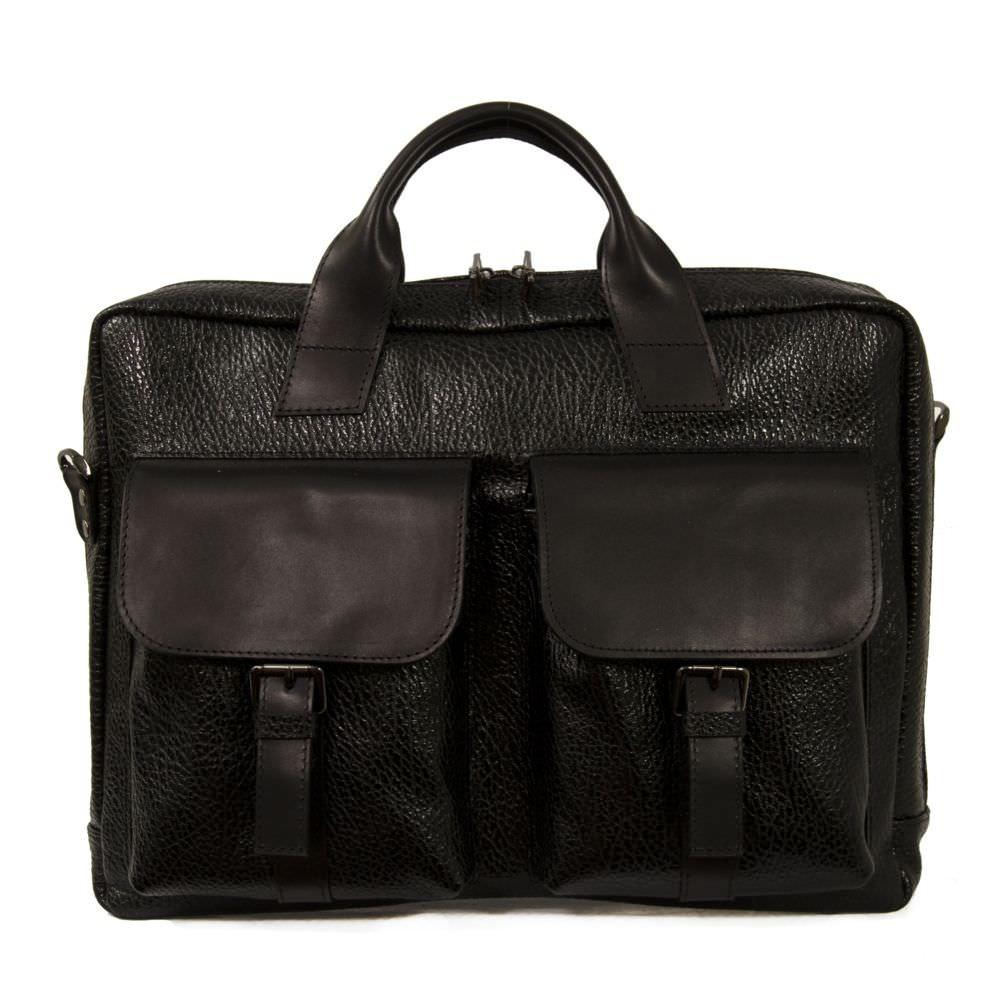 Мужской кожаный портфель 4293 чорний