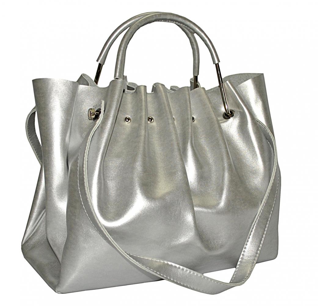 Женская сумка 35453 А  серебристая