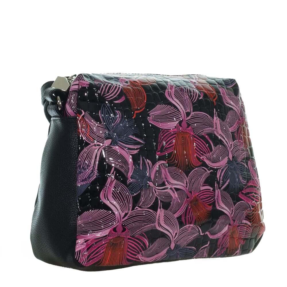 Женская сумка 32958 черная с цветным принтом